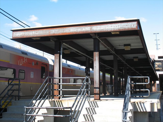 Charles A Gallagher Transit Terminal (Lowell MBTA Commuter Rail System) - Lowell Massachusetts - Structural Corten Steel (Canopy-Columns-Railings-Roof Deck-Rebar)